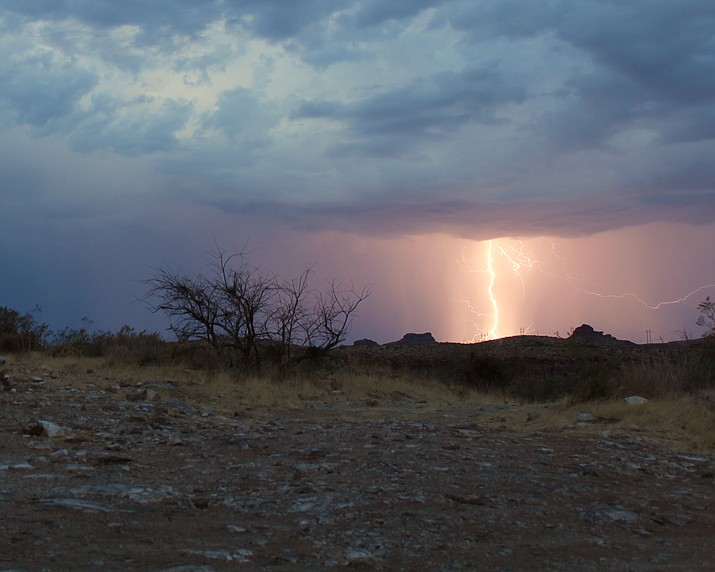 Lightning taken about 5 a.m. Saturday morning from a hill in downtown Kingman. (Photo by Herberta Baker)