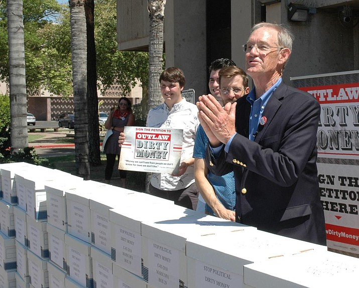 "Former Attorney General Terry Goddard has spearheaded what he calls the ""Outlaw Dirty Money"" measure that would ban anonymous donations from political campaigns. However, the issue is not so simple. (Howard Fischer/Capitol Media Services)"