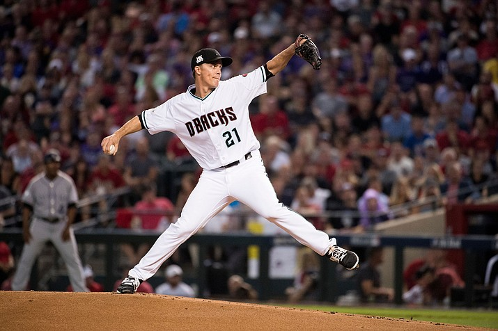 Arizona's Zack Greinke pitched just 4 1/3 innings Sunday against the Padres - his shortest outing of the season. (File photo courtesy of Sarah Sachs/Arizona Diamondbacks)