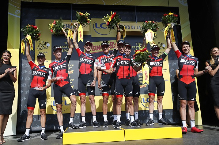 BMC Racing Team strains during the third stage of the Tour de France cycling race, a team time trial over 35.5 kilometers or 22 miles with the start and finish in Cholet, France, Monday, July 9, 2018. (Christophe Ena/AP Photo)