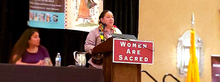 Navajo Nation Council Delegate Amber Crotty speaks at a Women Are Sacred conference June 28. (Office of the Speaker)