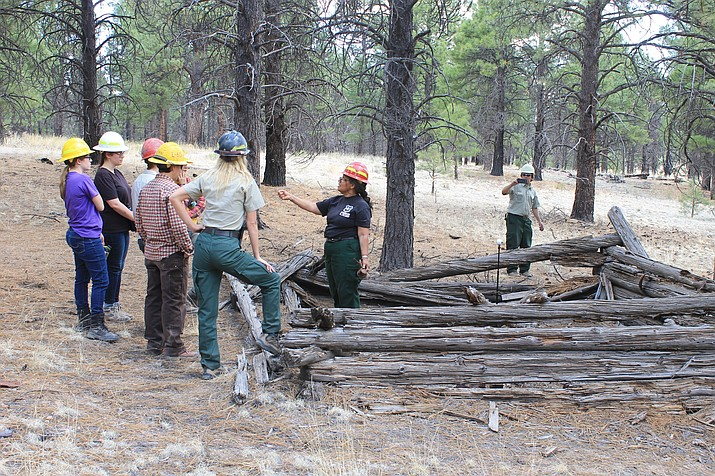Kaibab National Forest archaeologist Margaret Hangan explains the significance of a historic cabin to a group of new employees. The cabin is believed to have been built in the 1800s and is possibly associated with the Beale Wagon Road. (Wendy Howell/WGCN)