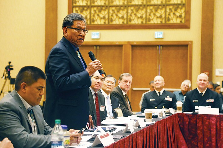 Navajo Nation President Russell Begaye told a group of HHS officials that implementing a Navajo MCO will help to reinvest revenues into developing health care programs to address existing health disparities.   (Office of the President and Vice President)