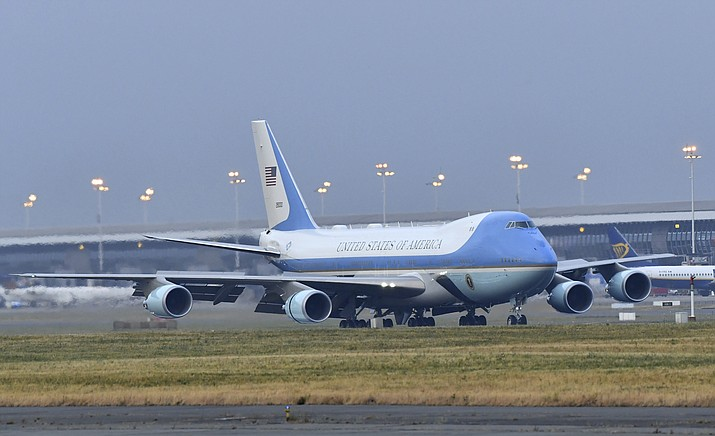 Air Force One touches down at Melsbroek Military airport in Melsbroek, Belgium, Tuesday, July 10, 2018. U.S. President Donald Trump landed in Brussels on Tuesday and will attend a two-day NATO summit. (Geert Vanden Wijngaert/AP Photo)