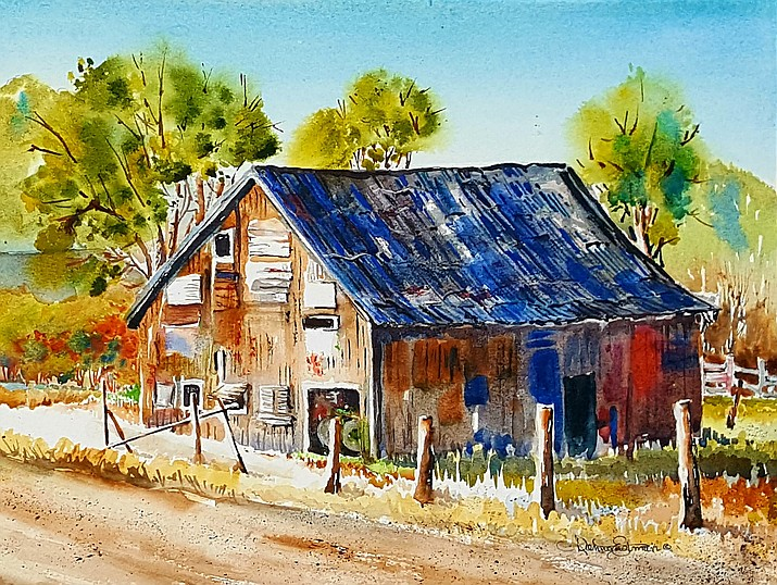 Donna Eastman Liddle's watercolor painting of the Cureton family's barn. Liddle is currently the featured artist at The Gallery in Williams. (Donna Eastman Liddle)