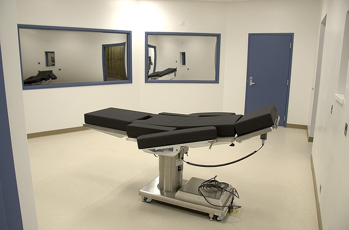 This Nov. 10, 2016, file photo released by the Nevada Department of Corrections shows the newly completed execution chamber at Ely State Prison in Ely, Nev. Scott Raymond Dozier, who was convicted in 2007 of robbing, killing and dismembering a 22-year-old man in Las Vegas, and was convicted in Arizona in 2005 of another murder and dismemberment near Phoenix, is slated to die at the prison by a three-drug lethal injection combination never before tried in any state. (Nevada Department of Corrections via AP, File)