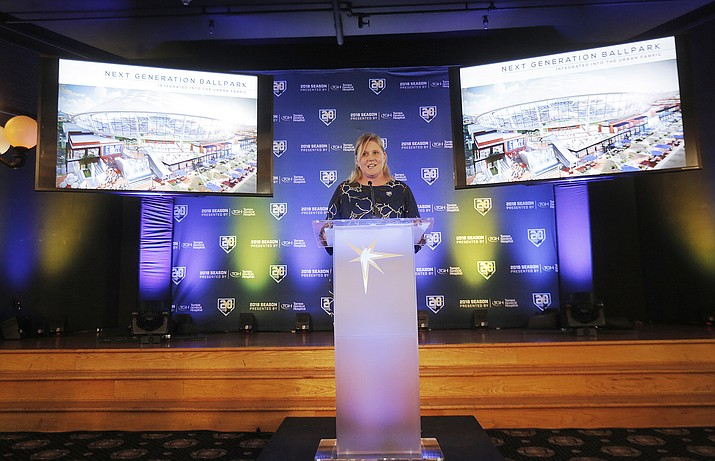 Tampa Bay Rays Melanie Lenz the Senior Vice President of Strategy and Development talks to packed audience during the unveiling ceremony of the new ballpark design held at the Italian Club in the Ybor City neighborhood in Tampa, Fla., Tuesday, July 10, 2018. (Octavio Jones/The Tampa Bay Times via AP)