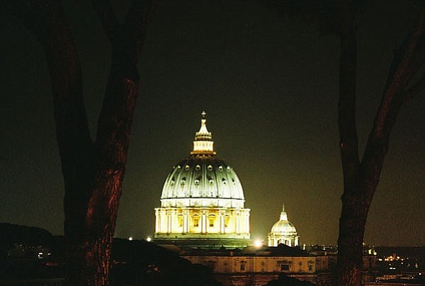 The Vatican is shown at night in this undated photo. (Cindy Barks/Courier, file)