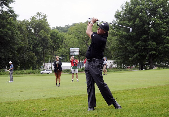 Phil Mickelson prepares to tee off from the second hole during the third round of the U.S. Open Golf Championship, Saturday, June 16, 2018, in Southampton, N.Y. (Seth Wenig/AP Photo, file)
