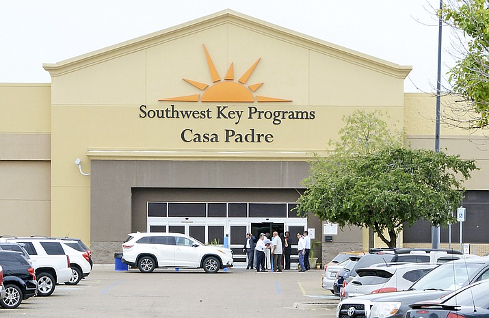 "In this June 18, 2018 file photo, dignitaries take a tour of Southwest Key Programs Casa Padre, a U.S. immigration facility in Brownsville, Texas, where children who have been separated from their families are detained. The American Civil Liberties Union says it appears the Trump administration will miss a Tuesday, July 10 deadline to reunite young children with their parents in more than half of the cases. The group said the administration provided it with a list of 102 children under 5 years old who must be reunited by Tuesday under an order by U.S. District Judge Dana Sabraw in San Diego. It said in a statement that it ""appears likely that less than half will be reunited"" by that deadline. (Miguel Roberts /The Brownsville Herald via AP, File)"