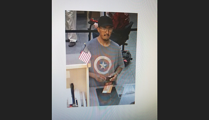 This man is suspected for committing a robbery at the OneAZ Credit Union on Pav Way in Prescott Valley late Friday afternoon, July 13. Anyone with information on this man is encouraged to call the police.