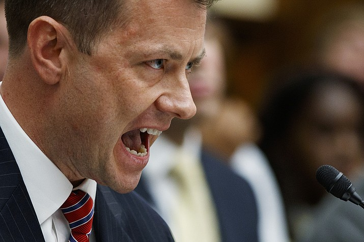"FBI Deputy Assistant Director Peter Strzok testifies before the House Committees on the Judiciary and Oversight and Government Reform during a hearing on ""Oversight of FBI and DOJ Actions Surrounding the 2016 Election,"" on Capitol Hill, Thursday, July 12, 2018, in Washington. (AP Photo/Evan Vucci)"