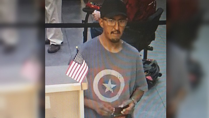Police say man is suspected of committing a robbery at the OneAZ Credit Union on Pav Way in Prescott Valley on Friday, July 13, 2018. (Prescott Valley Police Department)