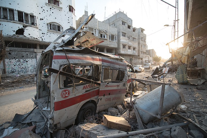 Photo taken during the 72-hour ceasefire between Hamas and Israel on 6th of August 2014. Destroyed ambulance in Shuja'iyya in the Gaza Strip. The Israeli military has carried out the largest daytime airstrike since 2014 Saturday. (Photo by By Boris Niehaus (www.1just.de) [CC BY-SA 4.0 (https://creativecommons.org/licenses/by-sa/4.0)], from Wikimedia Commons)
