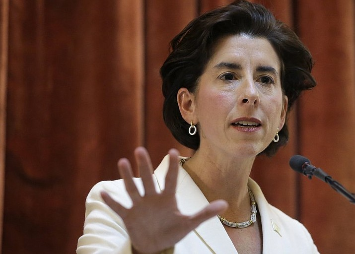 In this Jan. 16, 2018 file photo, Rhode Island Democratic Gov. Gina Raimondo delivers her State of the State address to lawmakers and guests in the House Chamber at the Statehouse in Providence, R.I. Raimondo will hold the first event Monday at Scarborough State Beach in Narragansett. She'll be joined by members of her Office of Constituent Services to help connect residents with various services. While there, she plans to sign an executive order to reduce reliance on single-use plastics that can end up in the state's waters. (AP Photo/Steven Senne)