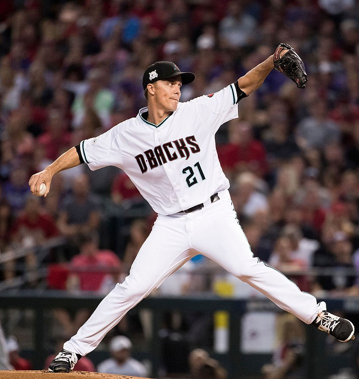 Arizona's Zack Greinke picked up his 10th win Saturday in a 3-0 victory over the Braves. (File photo courtesy of Sarah Sachs/Arizona Diamondbacks)