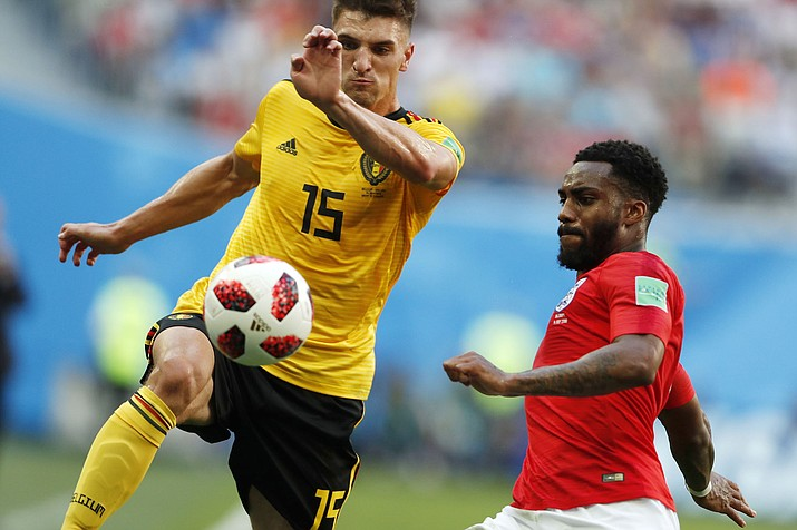 Belgium's Thomas Meunier, left, and England's Danny Rose challenge for the ball during the third-place match between England and Belgium at the 2018 soccer World Cup in St. Petersburg, Russia, Saturday, July 14, 2018. (Natacha Pisarenko/AP)