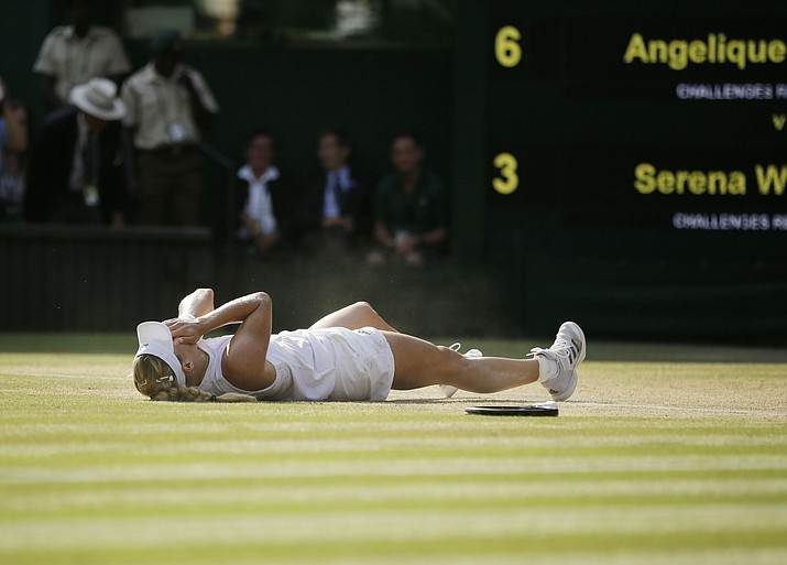 Angelique Kerber celebrates winning the women's singles final match against Serena Williams, at the Wimbledon Tennis Championships, in London, Saturday July 14, 2018.(Tim Ireland/AP)