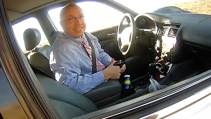 State Representative Paul Mosley is under fire after video surfaced July 12 of a March traffic stop in which he appears to brag to sheriff's deputy about driving 130 miles per hour. (Image from video/La Paz County Sheriff's Office)