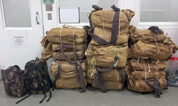 Backpacks with marijuana seized by Border Patrol agents near Yuma in March 2017. (Customs and Border Protection)