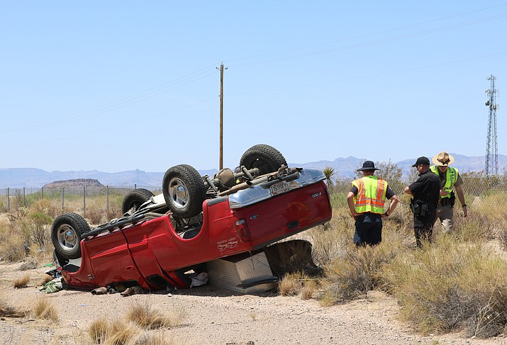No one was seriously injured in a one-vehicle rollover accident on Interstate 40 at mile marker 44. (Photo by Travis Rains/Daily Miner)