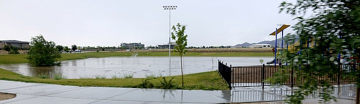 The new Bob Edwards Park, near the Civic Center in Prescott Valley, looks more like a lake than a park. (Heidi Dahms Foster/Courtesy)