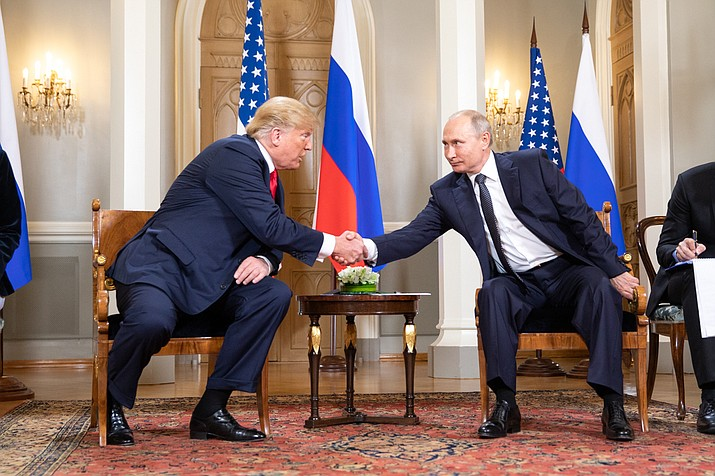 President Donald J. Trump and President Vladimir Putin of the Russian Federation on Monday. (Official White House Photo by Shealah Craighead)