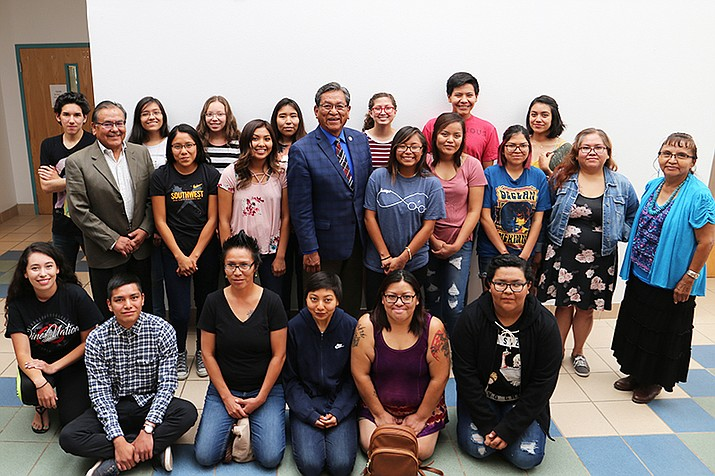 President Russell Begaye poses with aspiring and established authors at the second annual Emerging Diné Writers Institute July 12. ((Navajo Nation Office of the President and Vice President)