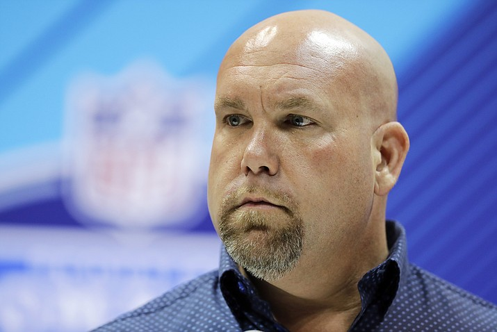 """In this Feb. 28, 2018, file photo, Arizona Cardinals general manager Steve Keim speaks during a press conference at the NFL football scouting combine 2018, in Indianapolis. Keim is apologizing for what he calls """"incredibly poor judgment and inexcusable actions"""" that resulted in a Fourth of July DUI arrest in a Phoenix suburb.  The Cardinals said Saturday, July 7, 2018, the team was gathering information and would handle the matter """"appropriately and in accordance with all league policies as well as within the legal system.""""  (Darron Cummings/AP, File)"""