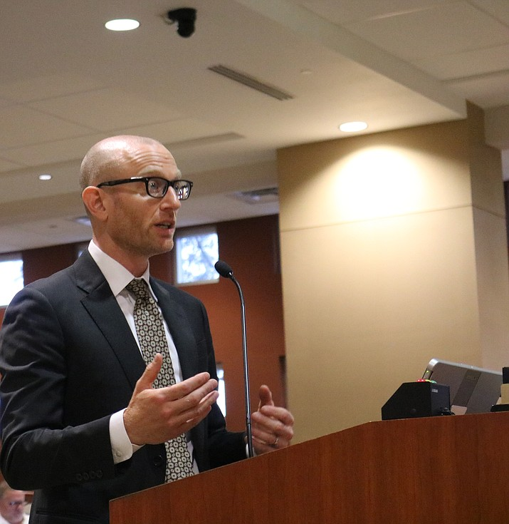 Keller Rohrback attorney Daniel Mensher provided City Council with an overview of opioid epidemic litigation at Tuesday's meeting. (Travis Rains/Daily Miner)