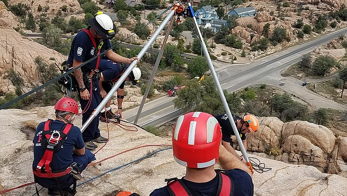 Fire agencies practicing technical rescue in Granite Dells