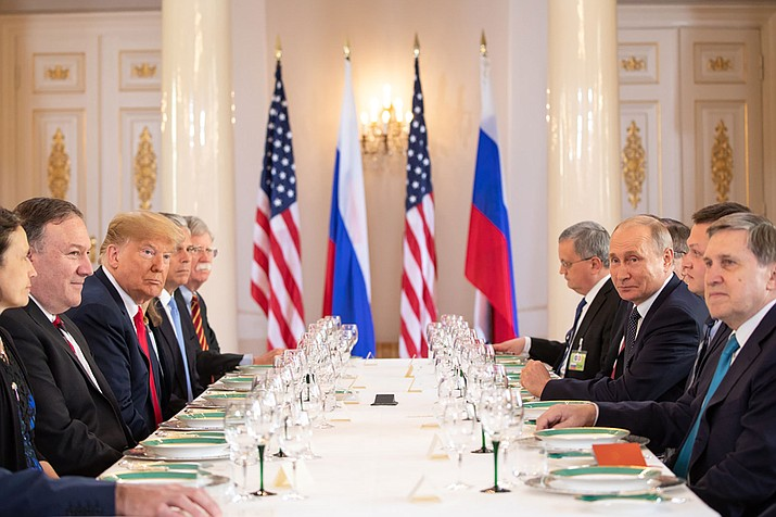 President Donald J. Trump and President Vladimir Putin of the Russian Federation held a working lunch Monday. (Official White House Photo by Shealah Craighead)