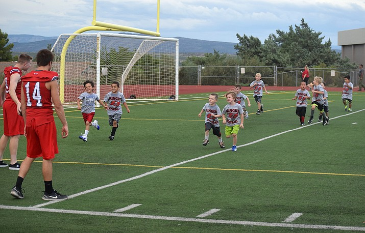 Campers run from one drill to another at the Mingus Marauders Youth Football Camp on Wednesday. VVN/James Kelley