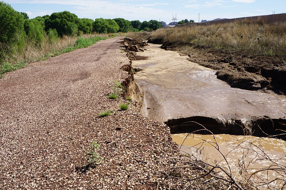 Some of the damage done to the Peavine Trail from the recent monsoon storms in Prescott, AZ. (Cindy Barks/Courier)