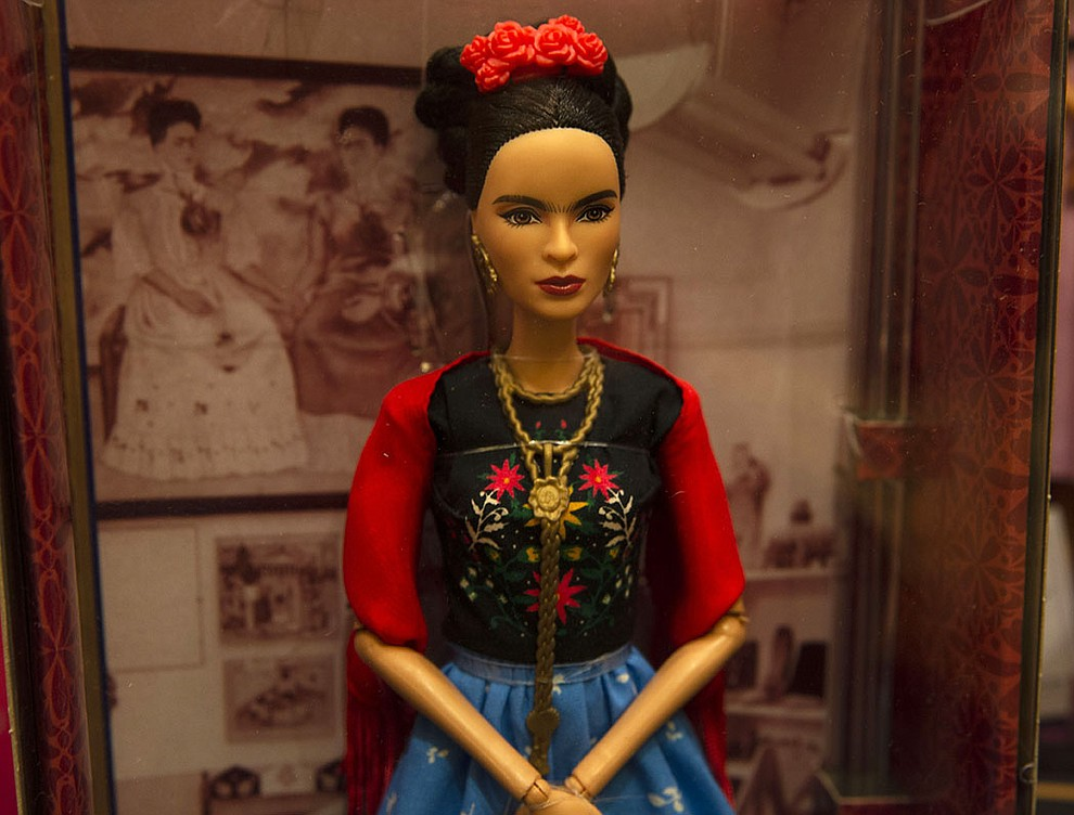 Mattel's Inspring Women line, released earlier this year, featured famed Mexican artist Frida Kahlo. Some criticized it as erasing Kahlo's unibrow. (Photo by Vivian Meza)
