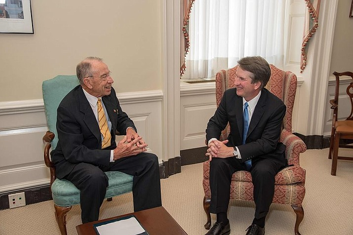 Senate Judiciary Committee Chairman Chuck Grassley met with President Donald Trump's Supreme Court nominee Judge Brett Kavanaugh July 12. (Photo by Office of Senator Chuck Grassley)