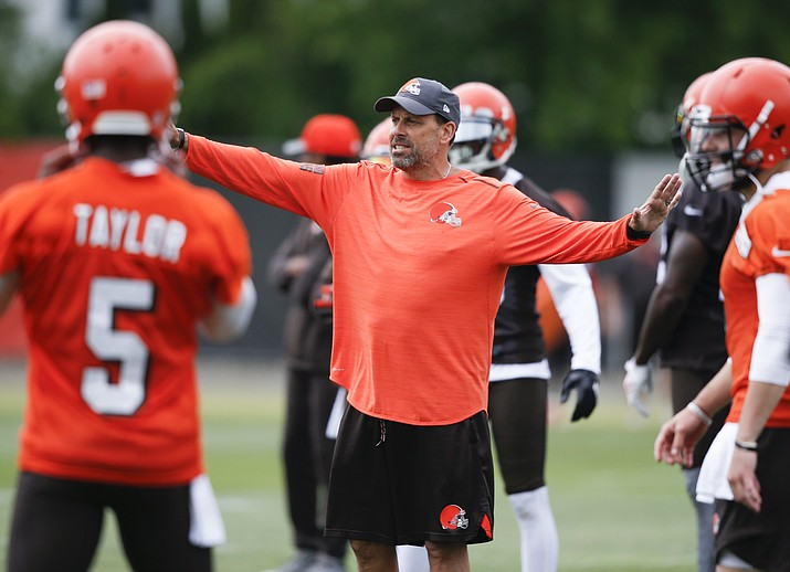 Cleveland Browns offensive coordinator Todd Haley directs a drill during the team's organized team activity at its NFL football training facility in Berea, Ohio, on June 5, 2018. A former head coach with the Chiefs, who spent the last six seasons in Pittsburgh, Haley faces a whole new set of challenges with the Browns. (Ron Schwane/AP Photo, file)