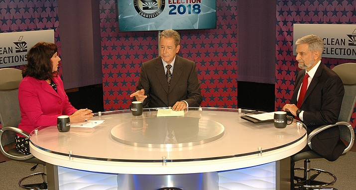 Incumbent Michele Reagan and Republican challenger Steve Gaynor face off Thursday night at a televised debate on KAET-TV, the Phoenix PBS affiliate, hosted by Ted Simons. (Capitol Media Services photo by Howard Fischer)