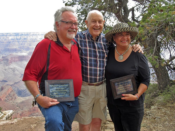 Rob and Elvira Arnberger were honored for the service to the Grand Canyon Community at the Grand Canyon Historical Society's annual picnic July 7 at Shoshone Point. (Photo courtesy of Grand Canyon Historical Society)
