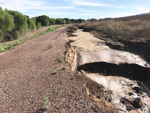 A microburst during a storm caused flooding that tore through the Peavine Trail in Prescott causing significant damage. (Rod Hurlbert/photo)