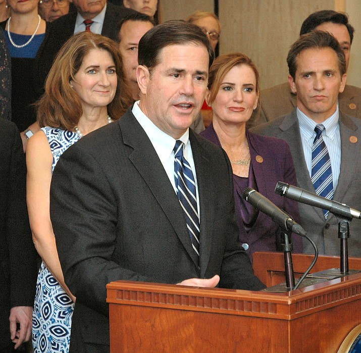 Gov. Doug Ducey at a press conference earlier this year where he addressed pay raises for Arizona public school teachers. (Howard Fischer/Courtesy, file)
