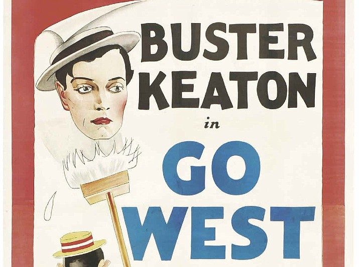 "A poster for Buster Keaton's 1925 short film ""Go West"" which was filmed in the Kingman area. In the film, Keaton portrays a young man named Friendless who meets and befriends a cow named Brown Eyes. Keaton used the Diamond Bar as a film location, and the filming lasted a couple of weeks. During the filming, Keaton stayed with the Laferriere family. (Public domain)"