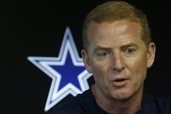 Dallas Cowboys head coach Jason Garrett speaks at a press conference during an organized team activity at its NFL football training facility in Frisco, Texas, May 23, 2018. Garrett has 67 regular-season wins since taking over in the 2010 season. He has had only one losing season as head coach. However, he has reached the postseason only twice and won one game in the playoffs. (Ron Jenkins/AP Photo, file)
