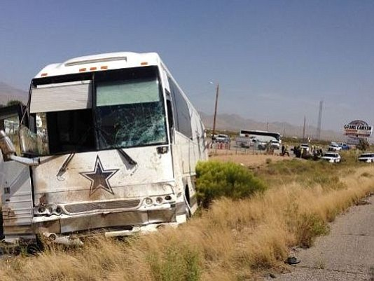 A Dallas Cowboys tour bus crashed into a van in 2016, causing four deaths, on U.S. Highway 93 at Pierce Ferry Road in 2016. It's one of the more spectacular fatal accidents reported on the dangerous highway. (Photo courtesy of ADOT)