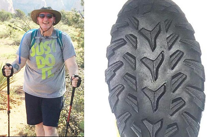 David Lighthall, age 60, has been missing since approximately 10 a.m. Wednesday, July 25 when he was last seen near the junction of the Brins Mesa and Soldier's Pass trails. Lighthall was last seen wearing brown Columbia hiking boots with a Y-shaped tread pattern down the middle of his shoe, according to a photograph on a missing person report by the Coconino County Sheriff's Office. Photo courtesy Coconino County Sheriff's Office