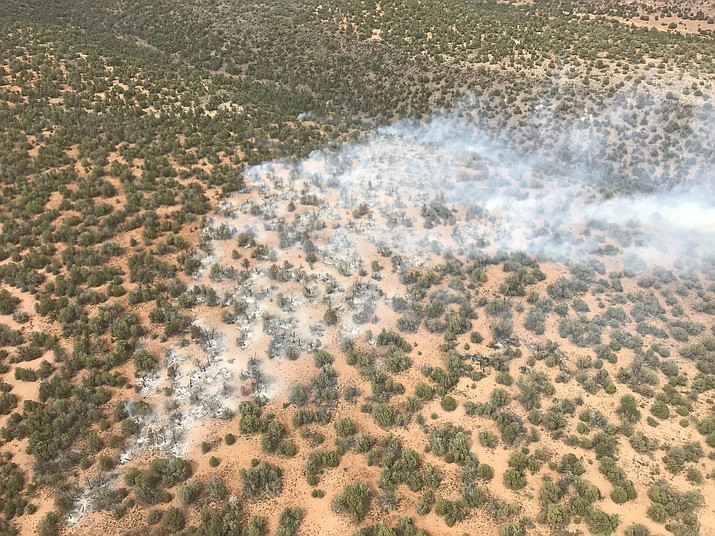 The Railroad Fire, which was caused by a lightning strike Wednesday afternoon, July 25, on the Chino Valley Ranger District, is burning in Pinyon Juniper about 30 milees northeast of Prescott west of Sycamore Wilderness. (Prescott National Forest/Courtesy)