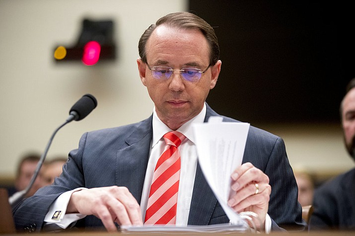 In this June 28, 2018, file photo, Deputy Attorney General Rod Rosenstein appears before a House Judiciary Committee hearing on Capitol Hill in Washington. A group of 11 House Republicans have introduced articles of impeachment against Rosenstein, who oversees special counsel Robert Mueller's investigation into Russian election interference and President Donald Trump's 2016 campaign. (AP Photo/Andrew Harnik, File)