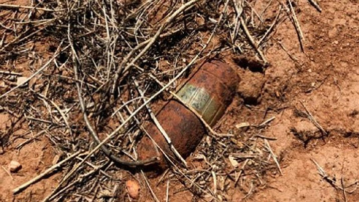 U.S. Border Patrol says this unexploded World War II artillery device was found Friday in Bisbee, Arizona near the international boundary fence with Mexico. (U.S. Customs and Border Protection)