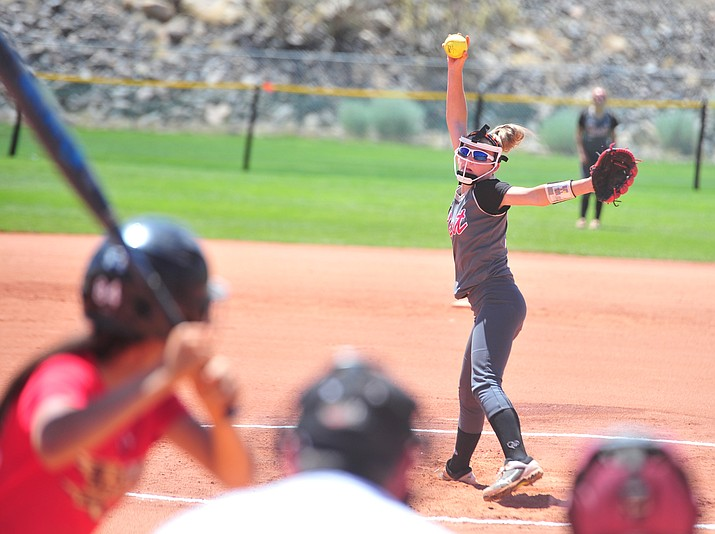 Verde Valley Heat Elite 14U's Alexis Ayersman delivers a pitch at the Schools Out for Summer NSA fastpitch girls softball tournament at Pioneer Park in Prescott, June 2, 2018. The Heat will participate in the Best of the West tournament set to take place Saturday and Sunday, July 28 and 29, in Prescott. (Les Stukenberg/Courier, file)