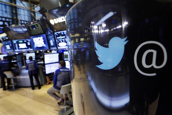 Twitter shares fell Thursday, July 26, 2018, after President Donald Trump said in a tweet the company was limiting visibility of prominent Republicans and said he was going to look into the matter. (AP Photo/Richard Drew, File)